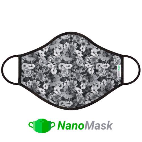 Mascarilla NanoMask Flores Grises